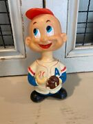 Vintage Alps Japan Wind-up Bobblehead Baseball Player Toy Works Very Rare