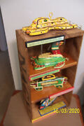 4 Ice Fish Decoys By Outsider Folk Artist Jcas Lure Co. Displayed In Old Cherry