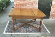 English Antique Oak William And Marry Style Dining Table