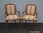 Pair Of Vintage French Country Red Stripped Chairs By Chateau D'ax Made In Italy