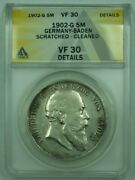 1902-g Germany-baden 5m Marks Silver Coin Anacs Vf-30 Details Cleaned Scratched