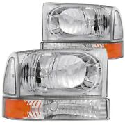 Anzo Crystal Headlights Chrome W/ Corner Lights 2pc For 00-04 Ford Excursion