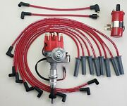 Ford 351c 429 460 Small Cap Hei Distributor + Coil + Red 8.5mm Spark Plug Wires