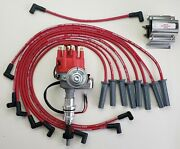 Ford 351c 429 460 Small Cap Hei Distributor +60k Coil + Red 8.5mm Plug Wires