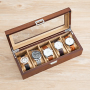 1x Glass Sunroof Lid 5 Slots Mechanical Watch Holder Removable Pillow Wooden Box