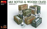 Miniart 1/35 Milk Bottles And Wooden Crates 35573