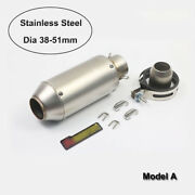235mm Universal Motorcycle Short Exhaust Tips Muffler Pipe 51mm Stainless Steel