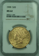 1900 Liberty 20 Double Eagle Gold Coin Ngc Ms-62