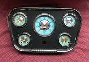 Vintage Stewart Warner Twin Blue Gauges With Navigator Panel