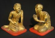Set Of Antique Monk Statues From Burma, 19th Century
