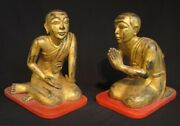Set Of Antique Monk Statues From Burma 19th Century