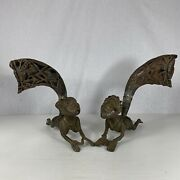 Pair Of Cameroon Bronze And Carved Horn Drinking Vessels Lying Men Tribal Art 26cm