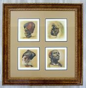 Mid Century Modern Rico Tomaso Framed Signed Lithograph Of Natives 63/350