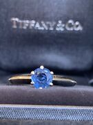 And Co Platinum Blue Sapphire Solitaire Knife Edge Band Ring .60 Carats