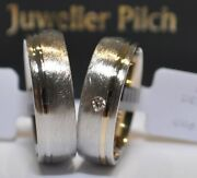 One Pair Wedding Gold 585 Bicolour With Diamond R / If 0,03ct. Ice Matte /