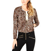Guess   Leopard Print Bomber Jacket   Brown