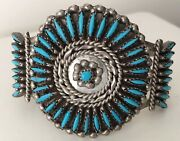 Old Pawn Sterling Silver Signed Zuni Needle Point Turquoise Cuff Bracelet