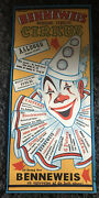 Benneweis 12x28 Danish Circus Poster 1950s Really Cool Art Of A Laughing Clown