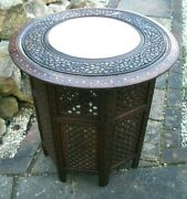 Large Beautifully Inlaid Antique Octagonal Folding Anglo/indian Side Table