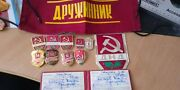 Collection Rare Volonter Force Police Ussr Document+badges+pins