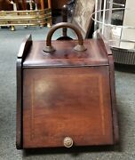 Mid 19th Century English Victorian Mahogany Coal Scuttle Box With Scoop