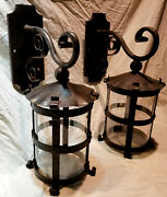 Pair 1920s Style Hammered Wrought Iron Spanish Revival Outdoor Wall Sconce Lamp
