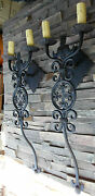 Pair Large 1920s Style Wrought Iron Spanish Revival Home Wall Double Sconce Lamp