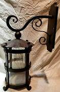 Heavy 1920s Style Hammered Wrought Iron Spanish Revival Outdoor Wall Sconce Lamp