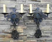 Pair 1920s Style Hammered Wrought Iron Spanish Revival Gargoyle Wall Sconce Lamp
