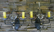 @ Pair 1920s Style Wrought Iron Spanish Revival Black And Silver Wall Sconce Lamp