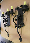 Large Pair 1920s Style Wrought Iron Spanish Revival Wall Sconce Lamp Lantern