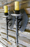 @ Pair 1920s Style Hand Hammered Wrought Iron Spanish Revival Wall Sconce Lamp @