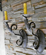 @ Pair Large 1920s Style Black Wrought Iron Spanish Revival Wall Sconce Lamp @