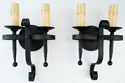 Pair 1920s Style Black Wrought Iron Spanish Revival Home Wall Double Sconce Lamp