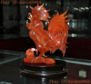 Chinese Exquisite Natural Agate Hand-carved Animal Chicken Statue Decoration