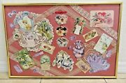 Large Antique Handmade Framed Diecut Valentine Day Card W Ribbons Doilies
