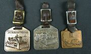 Set Of Three Vintage Construction Pocket Watch Fob And Leather Strap 4 1/2 Inch