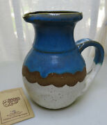 Vintage Nice Blue Indian Mountain Pottery Cobalt Blue Pitcher Watts 7''