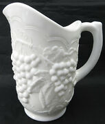 Vintage Ig Imperial Grapes And Cable Milk Glass Pitcher Large Iced Tea Lemonade