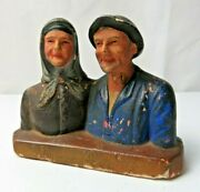 Antique French Noce Dand039or Old Farm Country Married Couple Portrait Plaster Bust