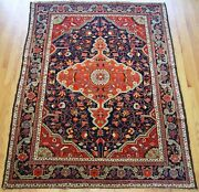 Genuine Antique Floral Saroukk Hand Knotted Wool Oriental Rug Cleaned 4.10 X 7