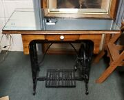 Early 20th Cent. American Cast Iron Sewing Machine Base Mirrored Glass Top Table