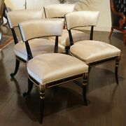 Set Of 4 Mahogany Traditional Dining Chairs Black And Gold Frame White Velvet