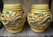 Pair Of Mid 20th Cent. Chinese Lacquered Wood Dragon/phoenix Motif Rice Barrels