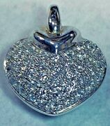 Pendant Heart Fine Quality 18kt White Gold And Diamonds 1.08cts Italy