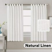 H.versailtex Living Room Linen Curtains Home Decorative Tab Top Curtains Privacy