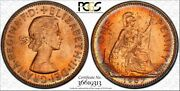 1967 Great Britain One Penny Pcgs Ms64rd Bu Color Toned Coin In High Grade