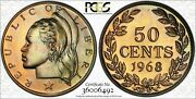 1968 Liberia 50 Cents Pcgs Pr65 Color Toned Bothsides Only 13 Graded Higher