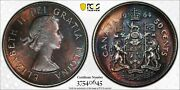 1964 Canada 50 Cents Pcgs Genuine Cleaned Monster Color Toned High Grade Dr