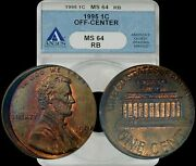 1995 Lincoln Memorial Penny Off-center Anacs Ms64rb Red-brown High In Demand